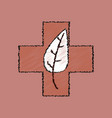 flat shading style icon medical cross with leaf vector image vector image
