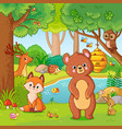 fox and bear in the forest vector image