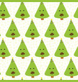 funny christmas trees with mustache pattern vector image vector image