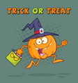 funny witch pumpkin cartoon character running vector image vector image