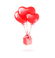 Gift with a red heart-shaped balloon vector image
