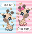greeting card with two cute cartoon giraffes vector image vector image