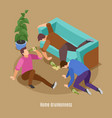 home drunkenness isometric background vector image vector image