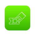ice hockey ticket icon green vector image vector image