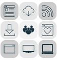 internet icons set with browser wireless vector image