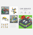 isometric car service infographic template vector image vector image