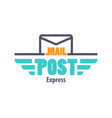 mail post emblem for postal service or delivery vector image vector image