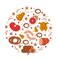 Meat and sausages icon set in round shape flat vector image vector image
