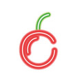 neon delicious and fresh cherry fruit vector image vector image