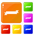 origami ribbon icons set color vector image vector image