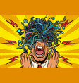 panic people wire adapter cables pop art vector image