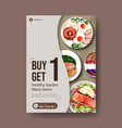 poster template with healthy and organic food vector image vector image