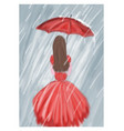 red girl with umbrella in the rain vector image vector image