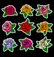 roses fashion patches and stickers in vector image vector image