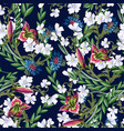 seamless pattern with lilies and wild flowers vector image vector image