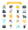 set art icons in flat design with long shadows vector image vector image