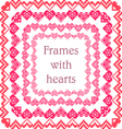 Set of frames with embroidered hearts vector image