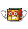 super hero rubik cube character cartoon vector image vector image