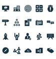 teamwork icons set with cashback winner vector image vector image