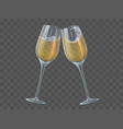 two champagne glasses toast wineglasses with vector image