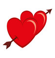 two hearts with arrow love card vector image vector image