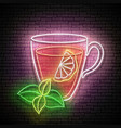 vintage glow signboard with tea cup lemon and mint vector image