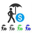 walking banker with umbrella flat icon vector image