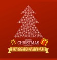 xmas greetong card on red background with vector image vector image