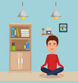 young man practicing yoga vector image vector image