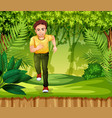 young man running in the jungle vector image vector image