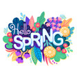inscription hello spring on background with vector image