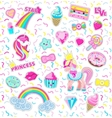Collection Princess Icons Rainbow Star Sweet vector image