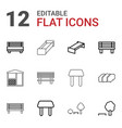 12 bench icons vector image vector image