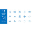 15 folder icons vector image vector image