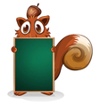 A squirrel hiding at the back of an empty vector image vector image