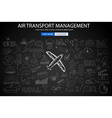 Air Transport Management Concept with Doodle vector image
