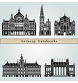 Antwerp landmarks and monuments vector image vector image