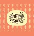 autumn sale banner with hand lettering vector image