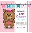 baby shower invitation with stuffed animal vector image vector image