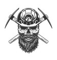bearded and mustached miner skull vector image