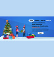 boy girl couple giving present each other happy vector image
