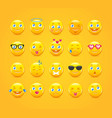 cartoon emoticons emoji icons yellow smiles vector image