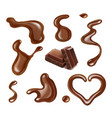 chocolate realistic drops and blots collection vector image vector image