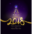 christmas and happy new year 2018 gold typography vector image vector image
