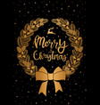christmas card gold wreath on black vector image vector image