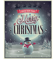 christmas poster with snowman vector image vector image