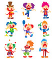 clown character performing different fun vector image