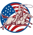cowboy riding horse with lasso and american flag vector image vector image
