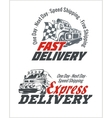Delivery elements Gray and red shipping signs vector image vector image