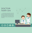 doctor present and sitting at the table poster vector image vector image